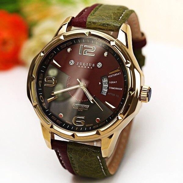 2017 JULIUS Brand Fashion Men Sports Watches Men's Quartz Hour Date Clock Man Leather Strap Military Army Waterproof Wrist Watch