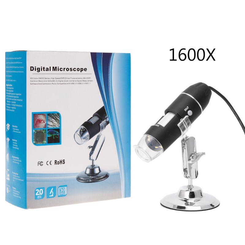1600X กล้อง USB กล้องจุลทรรศน์ Endoscope 8LED แว่นขยายที่มีขาตั้งโลหะ