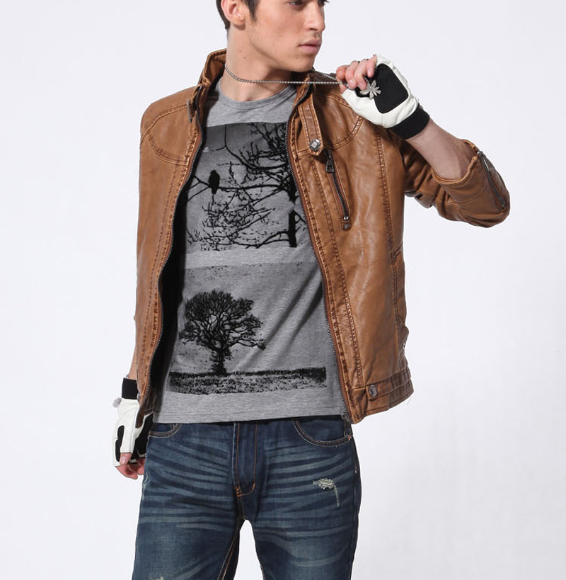 Men Autumn Winter Leather Jacket Motorcycle Leather Jackets Male Business casual Coats Brand New clothing veste en cuir,YA349 1
