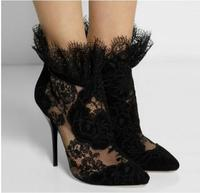 2017 Fashion Sexy Cut Outs Flower Embroidered Ankle Boots Lace Pointed Toe High Heel Booties Back Zipper Stiletto Heel Boots