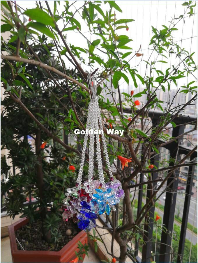 Free Ship! 8pcs/Lot Mixed Color Colorful Octagon Beads Suncatcher Crystal Prisms Pendants For Chandelier Parts Home Decoration