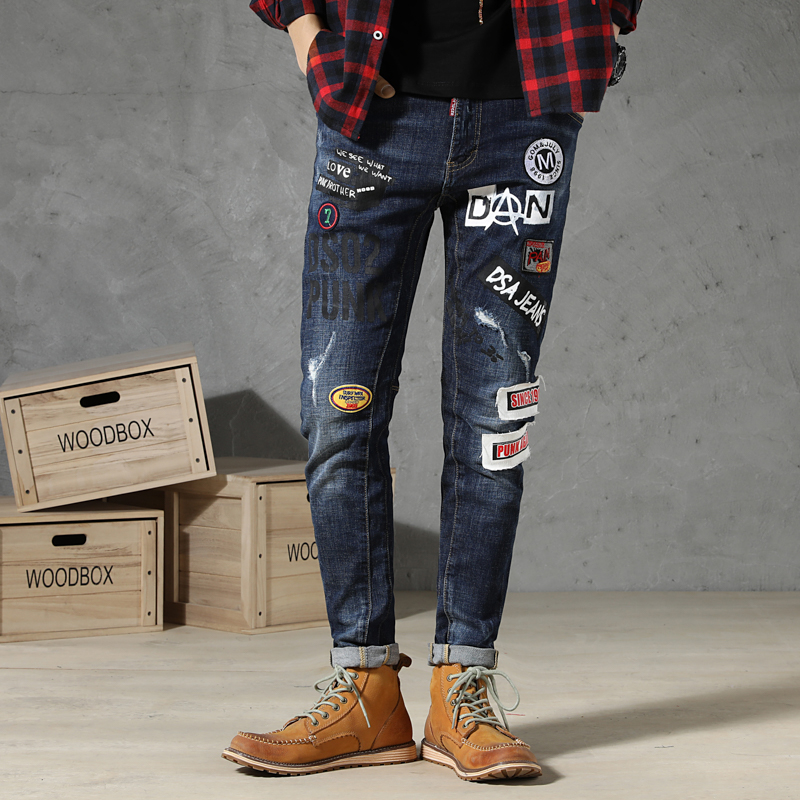 New Mens Jeans Ripped Torn Jeans Printed Male Trousers Slim Skinny Pants Men Clothes Stretch Hip Hop Streetwear Spring Summer