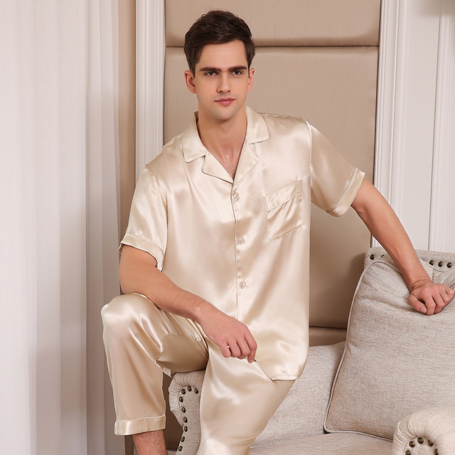 100% Pure Silk Pajamas Men Sleepwear Summer Short Sleeve Pyjama Sets  Two-Piece Tops + Pants Real Silk Pijama Male 2019 NEW T9001 5b99463a2