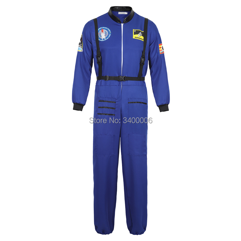 Astronaut Jumpsuit Suit Astronaut Costume Adult Flight Suit Halloween Cosplay One Piece Overalls Men Women Blue White Orange