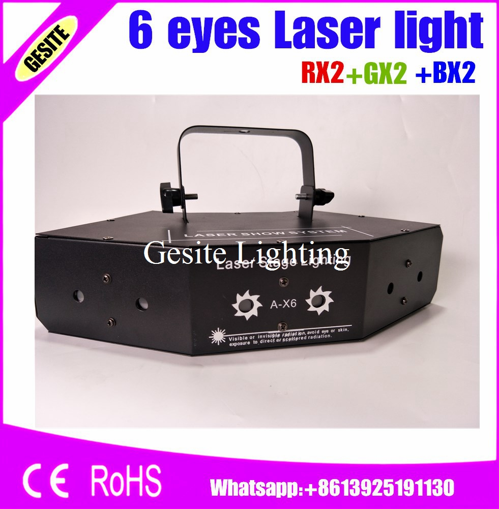 Frees shipping 6 eyes laser light stage effect light for dj party show