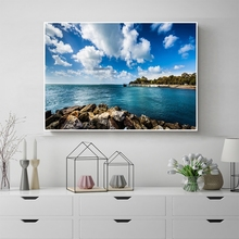 Laeacco Nordic Blue Sky Cloud Seaside Stone Posters Prints Home Decoration Wall Art Canvas Painting Living Room Decor