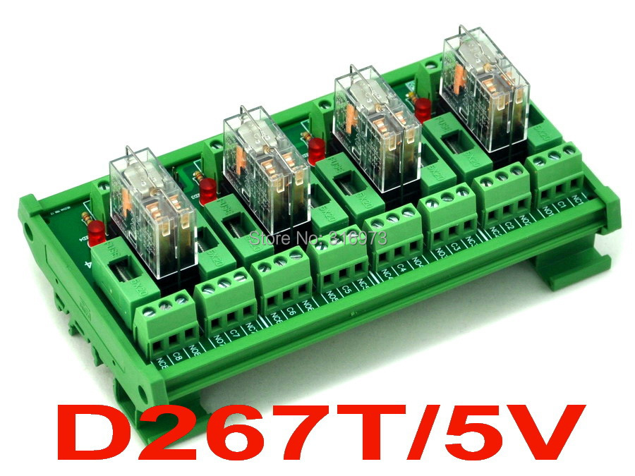 DIN Rail Mount Fused 4 DPDT 5A Power Relay Interface Module, G2R-2 5V DC Relay.