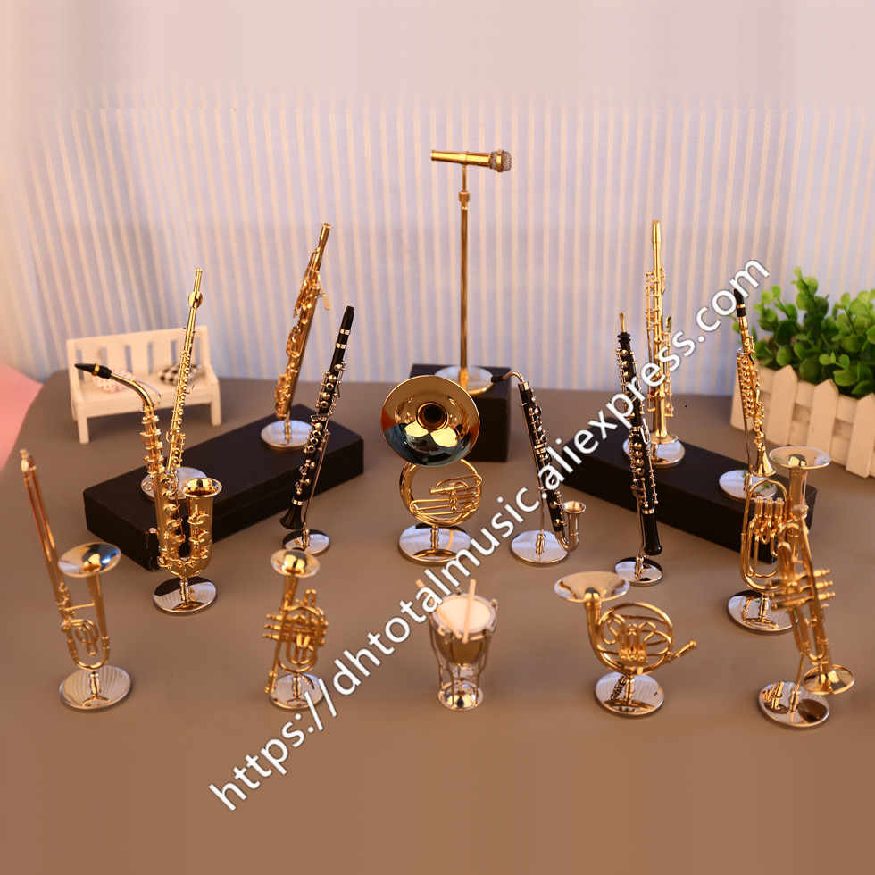 Dh Miniature Flute Clarinet Saxophone Trumpet Trombone French Horn Model Mini Musical Instrument Ornaments Gift and Decoration