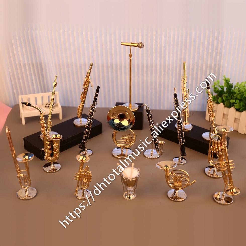 Миниатюрная флейта Dh, кларнет, саксофон, тромбон, французский гудок, модель, мини-музыкальный инструмент, украшения, подарок и украшение