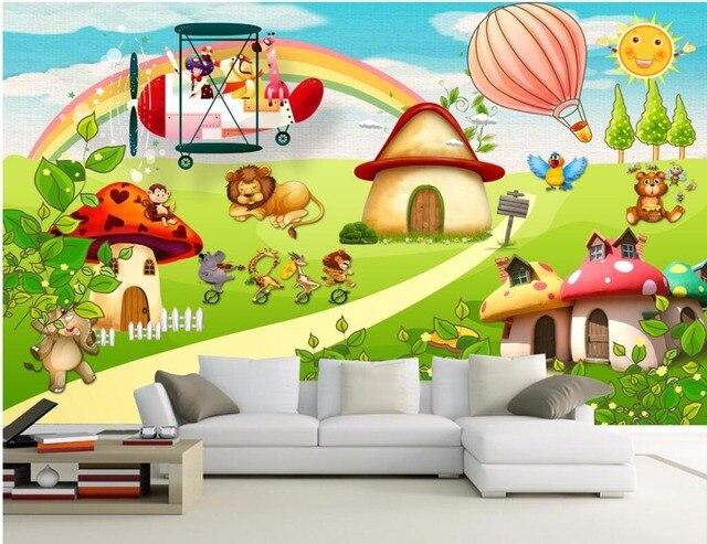 Kustom Foto Mural 3d Wallpaper Kartun Hewan Taman Bermain Anak Room