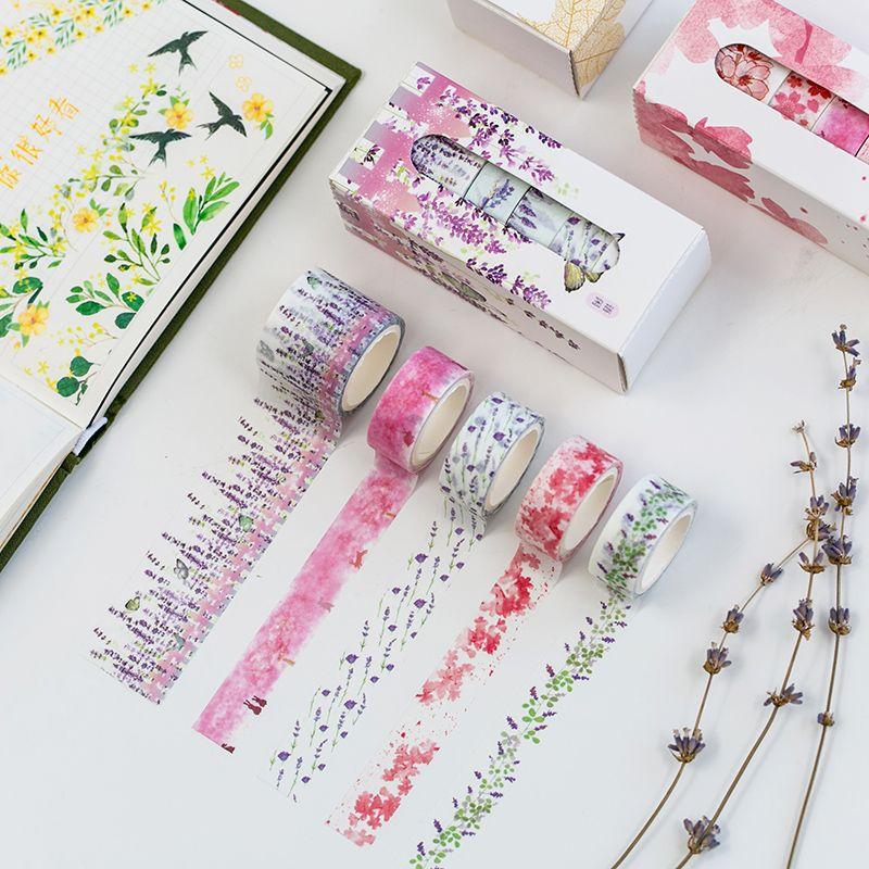 5 Rolls Washi Tape Set Lavender Sakura Theme Adhesive Masking Tape DIY Sticker Notebook Diary Album Decors School Supplies