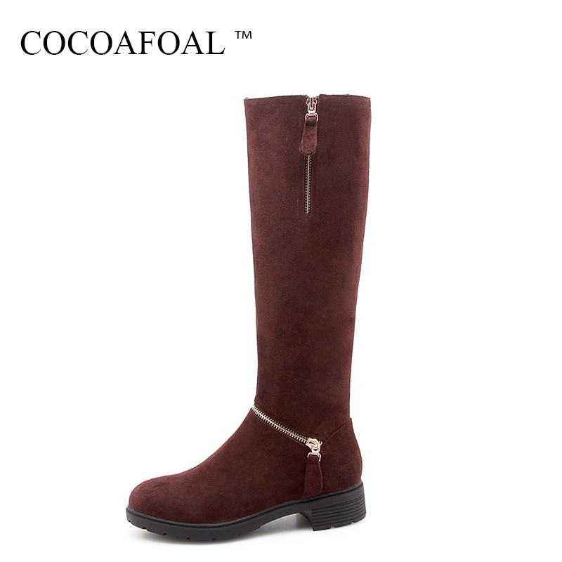 COCOAFOAL Genuine Leather Knee High Boots Fashion Black Women High Heeled Shoes Winter Nubuck Leather Chelsea Knee High Boots