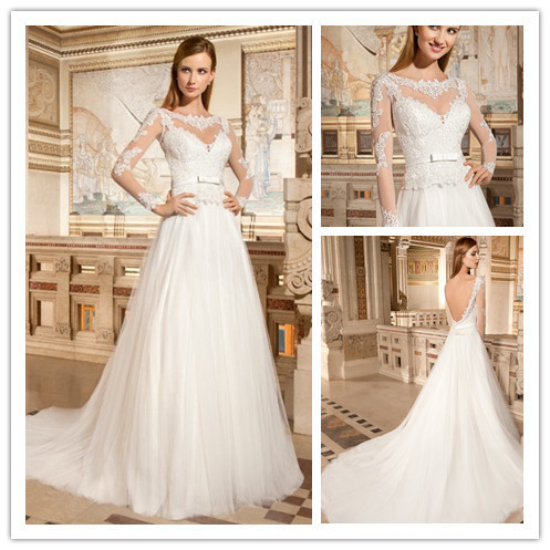 0f3ff1f780cb0 Scoop Neckline Sashes Empire Waist Wedding Dress With See Through Long  Sleeve Backless Bridal Gown Snow White Wedding Dress