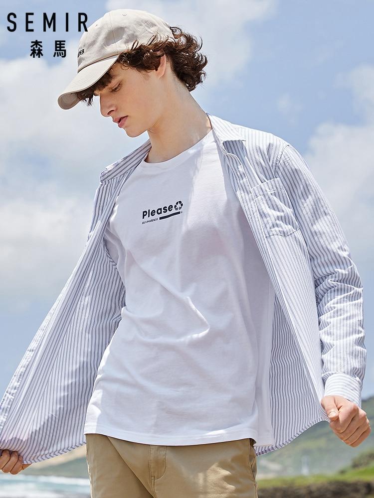 SEMIR Men Shirt Long Sleeve 2019 New Cotton Shirt Men's Autumn Students Clothes Thin Vertical Stripes Chic Cotton Shirt