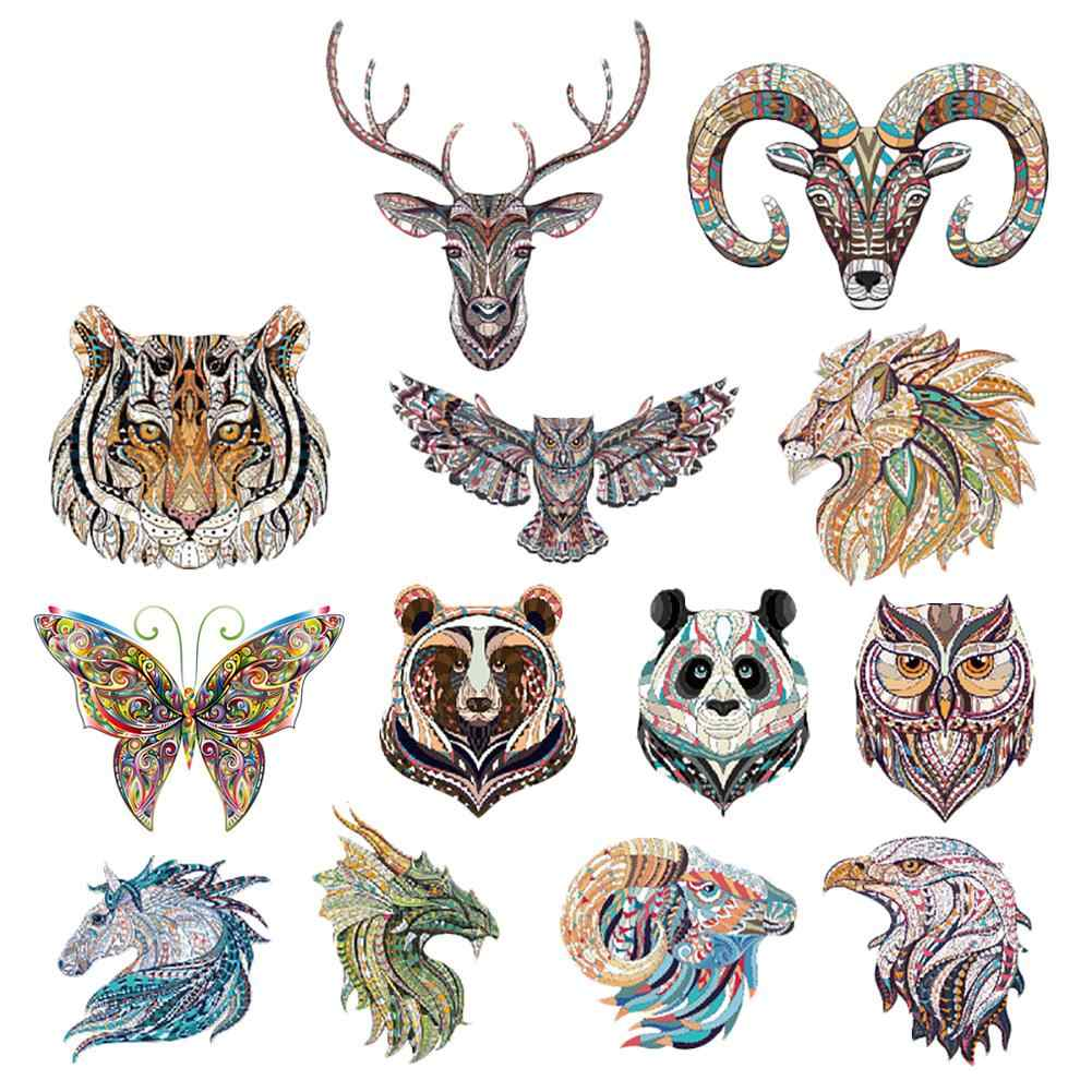 Ethnic Style Animals Tiger Dragon Patches Heat Transfer Offset DIY Clothes Stickers Iron On Patches Decorative  Patch Stickers