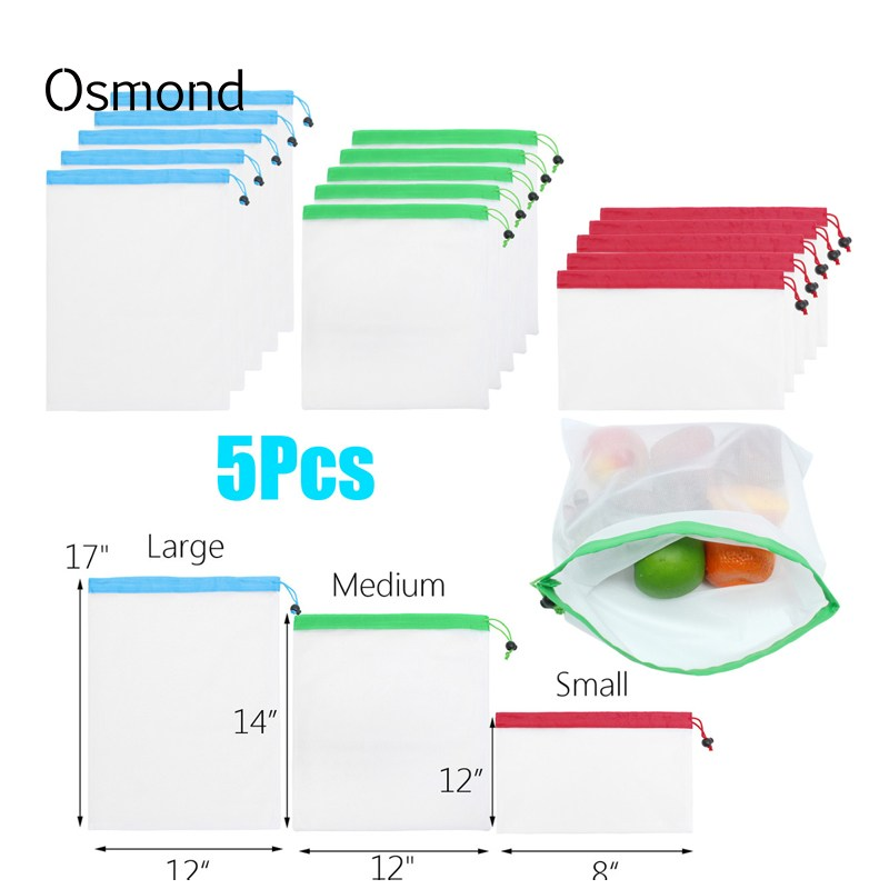 Osmond 5 Pcs set Polyester Shopping Bags Eco-friendly Reusable Shopper Bag Recycle Shopping Bags String Storage Grocery Bag Food