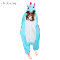 Mujeres de Los Pijamas Cosplay Animal Onesie unicornio Niñas Azul Rosa Púrpura Franela Homewear Flojos Calientes Soft Mono Niño y Adulto