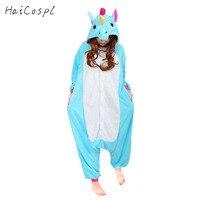 Unicorn Pijama Kadın Cosplay Kostüm Hayvan Onesie Kızlar Mavi Pembe Mor Ev Tekstili Flanel Sıcak Gevşek Yumuşak Tulum Kid & Yetişkin
