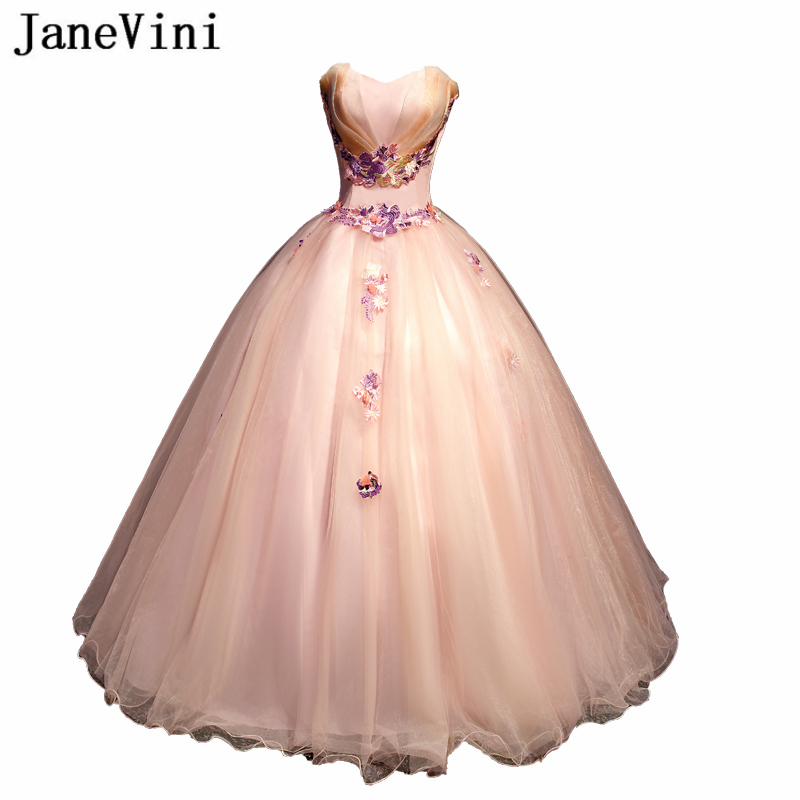 JaneVini Charmign Tulle Ball Gown   Prom     Dresses   Sweetheart Lace Appliques Plus Size Princess Formal Party Gowns Vestidos De Gala
