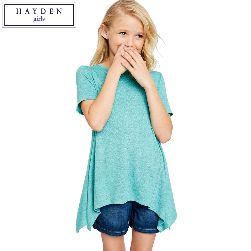 HAYDEN Girls Tops Teenage Girl T Shirt Top Summer 2018 New Brand Designer Asymmetrical Tshirt Size 8 10 12 14 Years Kids Clothes