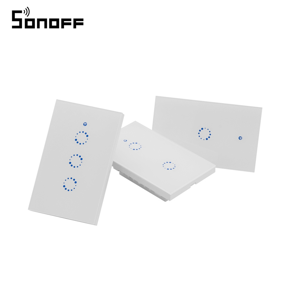 Sonoff T1 US / EU WiFi RF / APP / Touch Control Wall Light Switch 1 /2 /3 Gang 86 Type Panel Wall Touch Light Switch Smart Home original joyetech ego aio vape kit with 1500mah battery