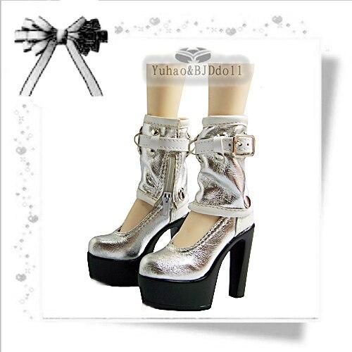 1/3 BJD Doll high-heel boots Silver white sd luts bjd dz boots 5