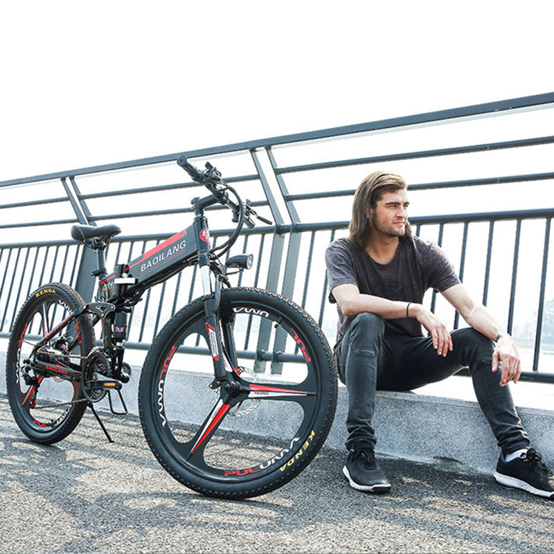 26inch Fold electric mountian bicycle Full suspension 48V350W Hybrid Electric Bicycle Frame built-in lithium battery City ebike