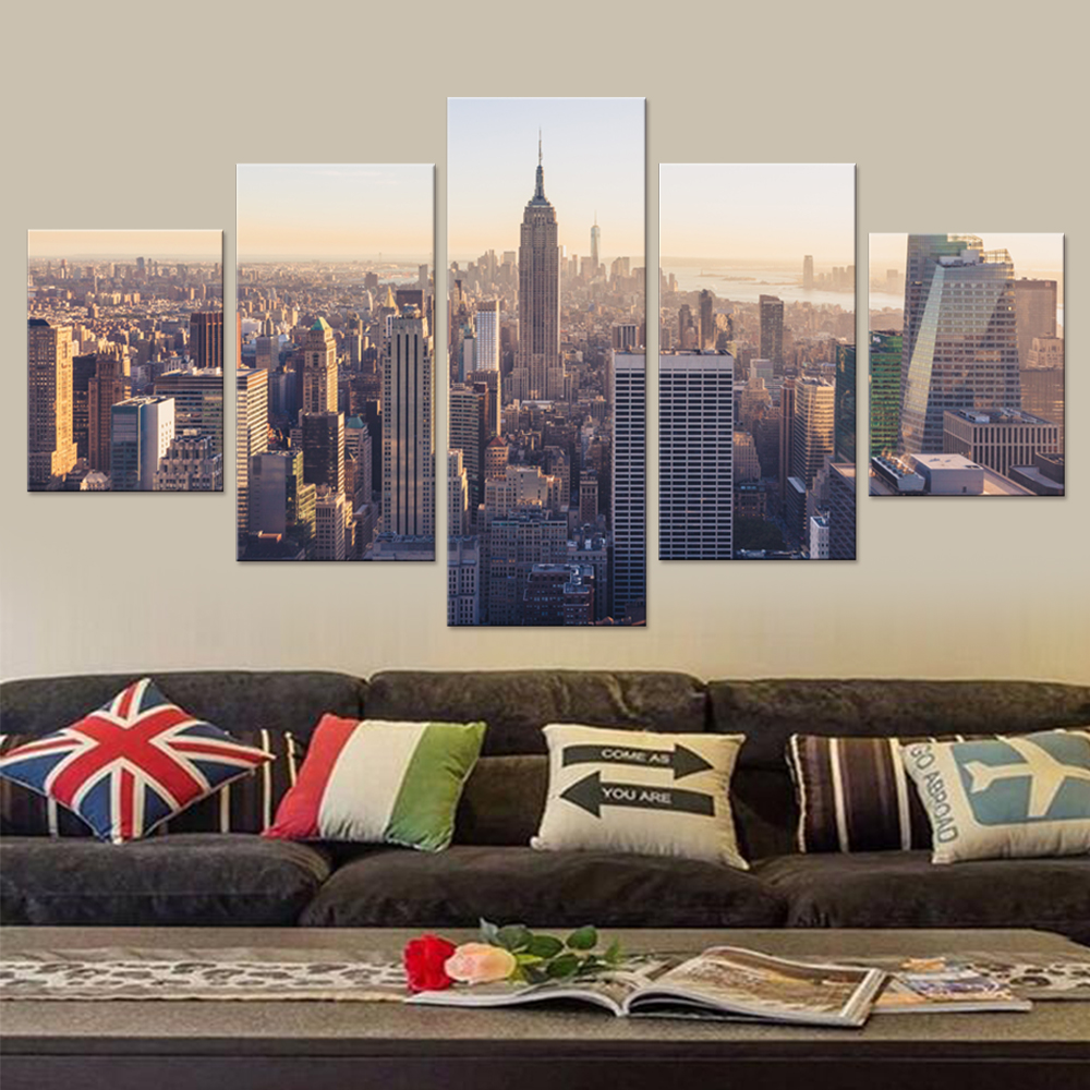 Modern new york city canvas set wall decor living room for Living room decor sets