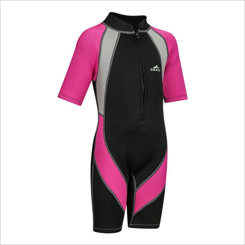 2mm Neoprene Kids Wetsuit Teenage 2-12Y Short Sleeve Jumpsuit Anti-jellyfish