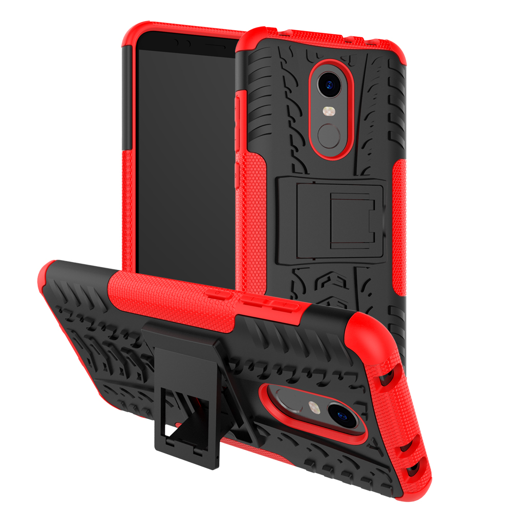 2 In 1 Heavy Duty Strong Rugged Armor Tire Style Hybrid TPU PC Hard Stand Bracket Case For Xiaomi Redmi 5 Plus