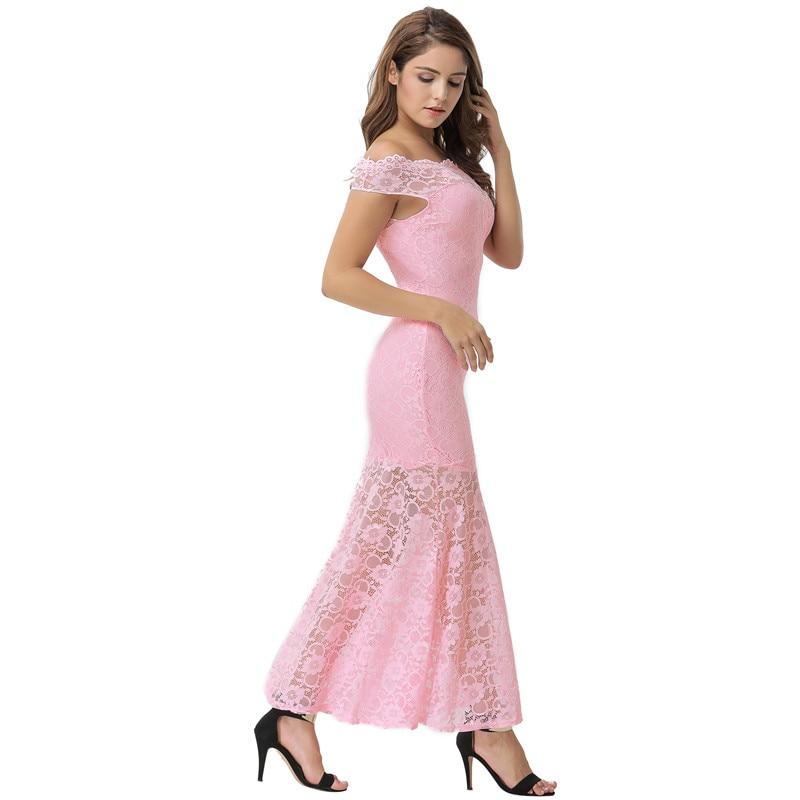 Comeonlover vestido de renda robe longue sexy de hombro impresión ...