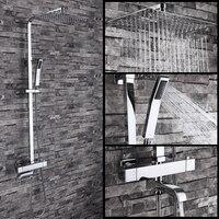 Бесплатная доставка двойной душевой смеситель для душа из латуни хромированный набор для ванной комнаты квадратная душевая колонна для ва