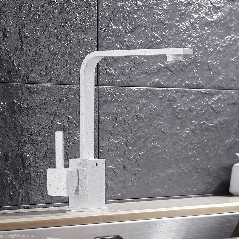 White Painted Faucet Brass Kitchen Faucet Square Kitchen Sink Tap 360 Rotating W Kitchen Sink Mixer Kitchen Sink Mixer Sink Mixerkitchen Sink Tap Aliexpress