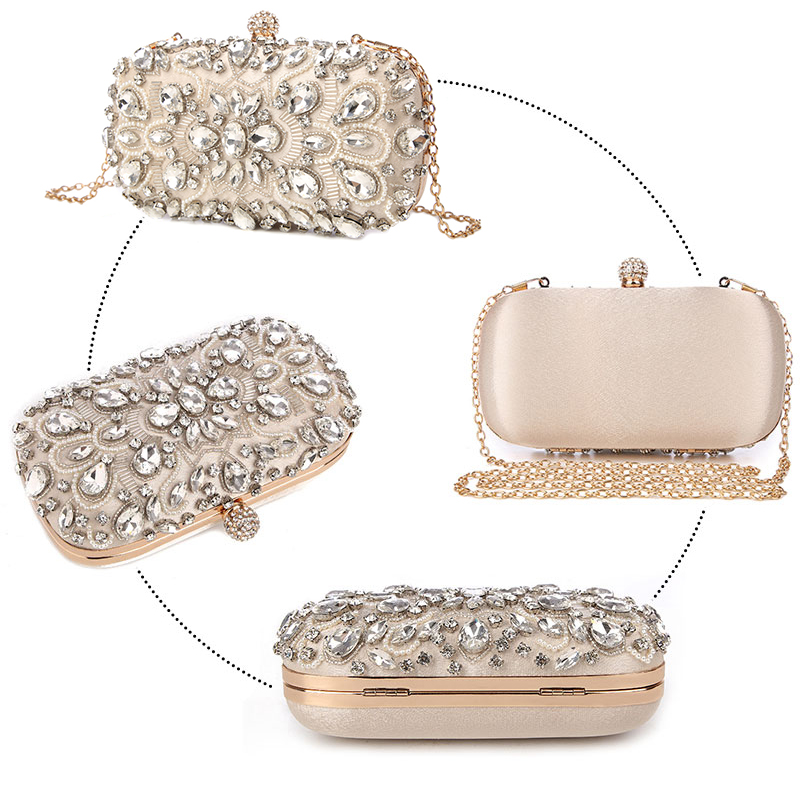 Image 2 - Wedding Clutch Womens Clutch Bag Party Purse and Handbag Pearl  Clutch Luxury Handbags Women Bags Designer Apricot Wallet  bolsaTop-Handle Bags