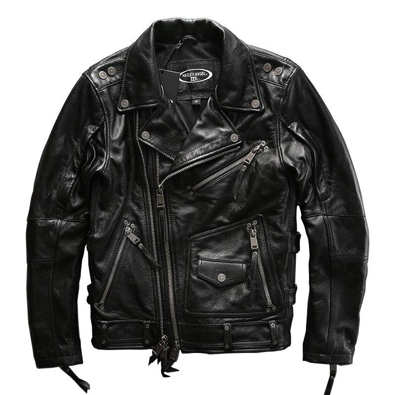 Europeo tamaño grande de alta calidad super genuino de cuero de piel de vaca motor jinete chaqueta para hombre tamaño grande de piel de vaca casual chaqueta de cuero
