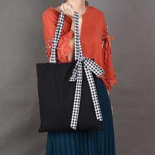 2019 Fashion Lady Canvas bag black bow shoulder shopping portable lattice strap canvas