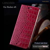 LANGSIDI Brand Mobile Phone Case Genuine Leather Crocodile Flat Texture Phone Case For Xiaomi Redmi 4X