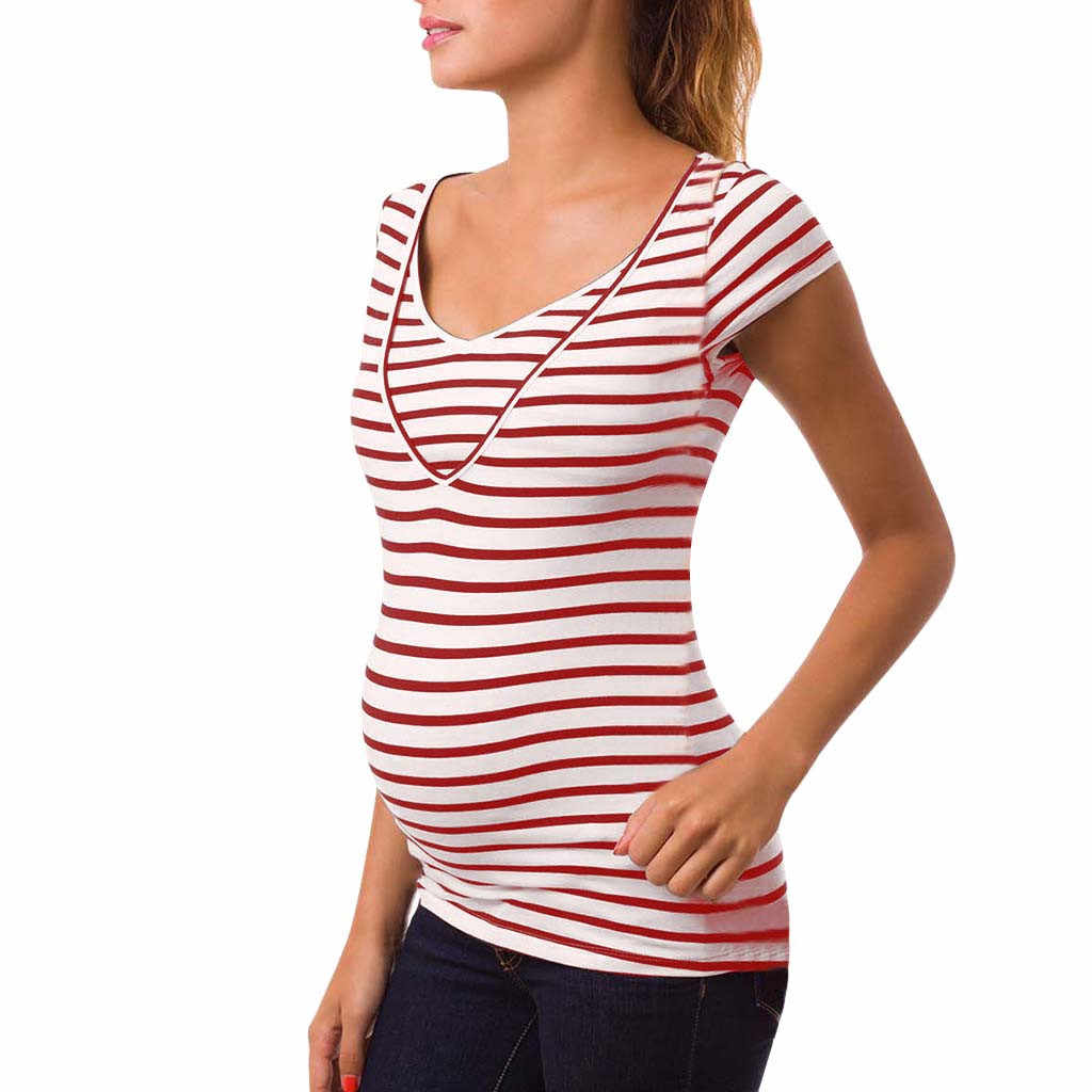 SAGACE Summer Casual Striped Women Pregnant Breastfeeding V Neck Top Clothes T-Shirt Maternity Nursing T Shirt Clothing