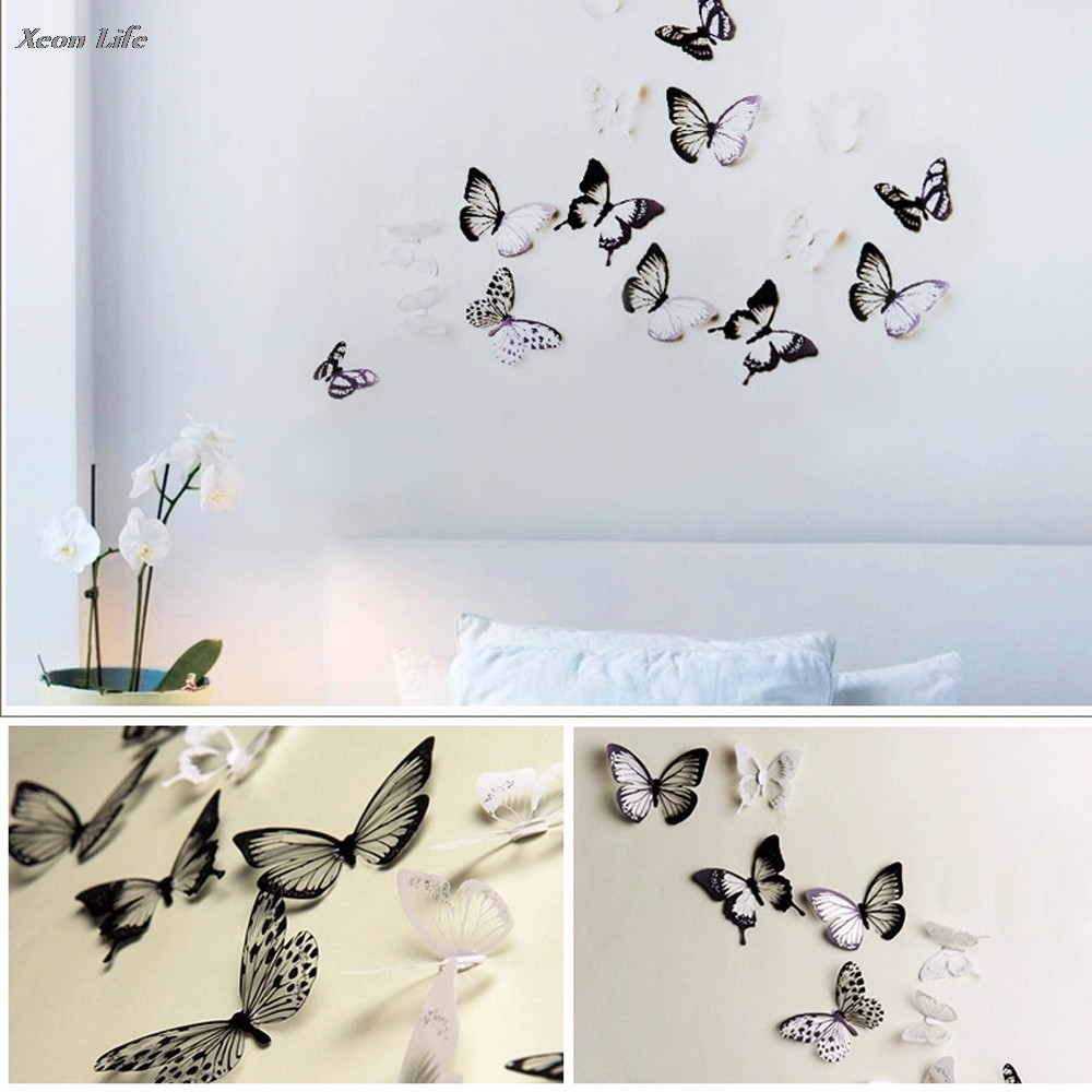 ISHOWTIENDA Hot Sale 1pc Nice 30*22cm Refrigerator 3D Wall Stickers Butterfly Fridge Cartoon Removable Wonderful Home Decoration