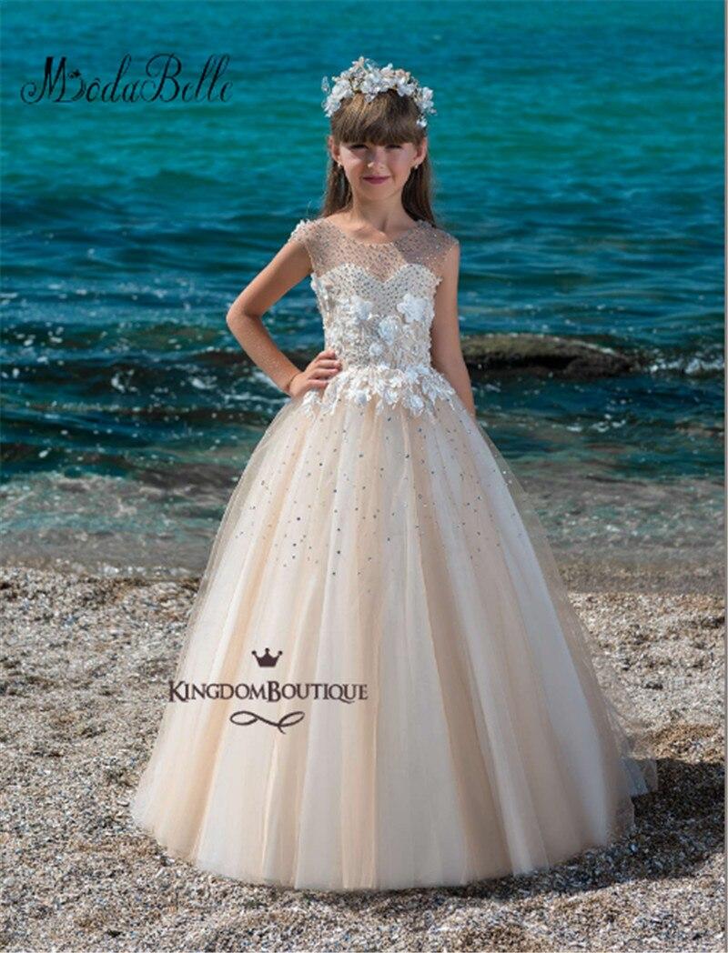 Modabelle Cute   Flower     Girl     Dresses   Applique Crystal Floor Length Custom Made Toddler Communion Little   Girl     Dresses