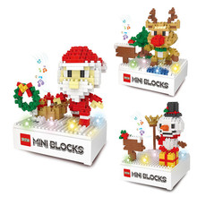 Christmas series DIY Miniature Blocks Light and Musical Electric Music Box Assembly Models & Building Toy Santa Claus Gifts