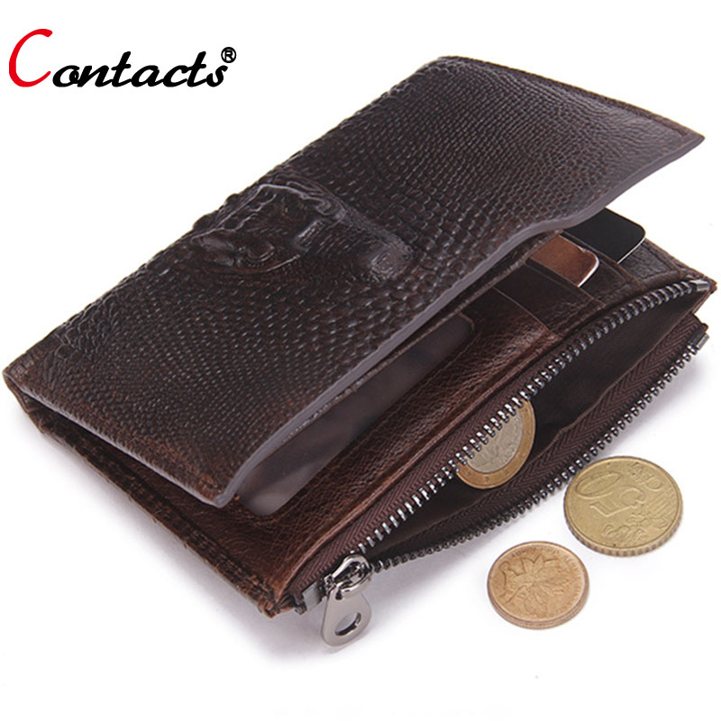 CONTACT'S Genuine Leather Men Wallets Short Coin Purse Famous Brand Crocodile head Card Holder men clutch bags money bag walet