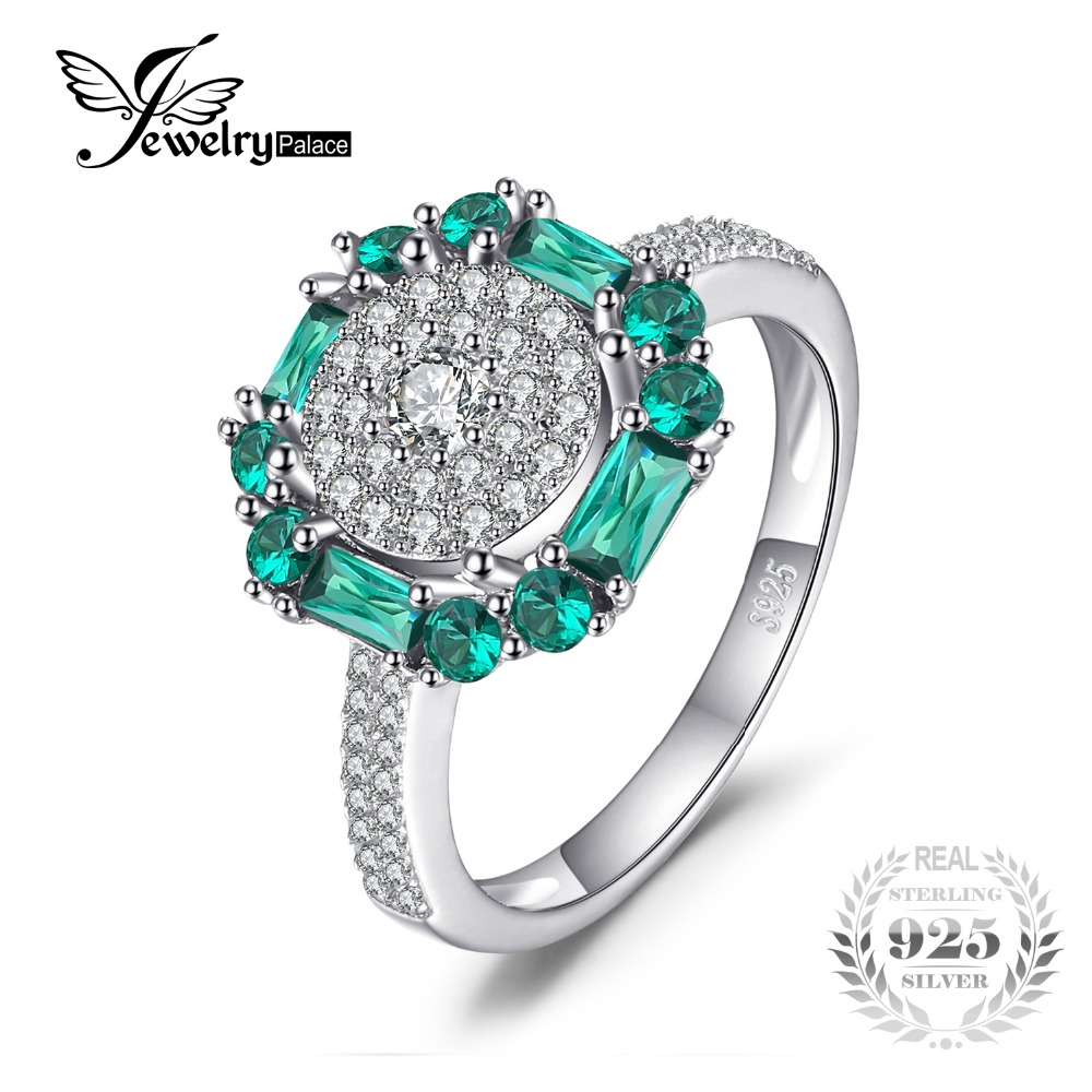 JewelryPalace 1ct Created Emerald Ring 100 Real 925 Sterling Silver Vintage Fine Jewelry Rings For Women