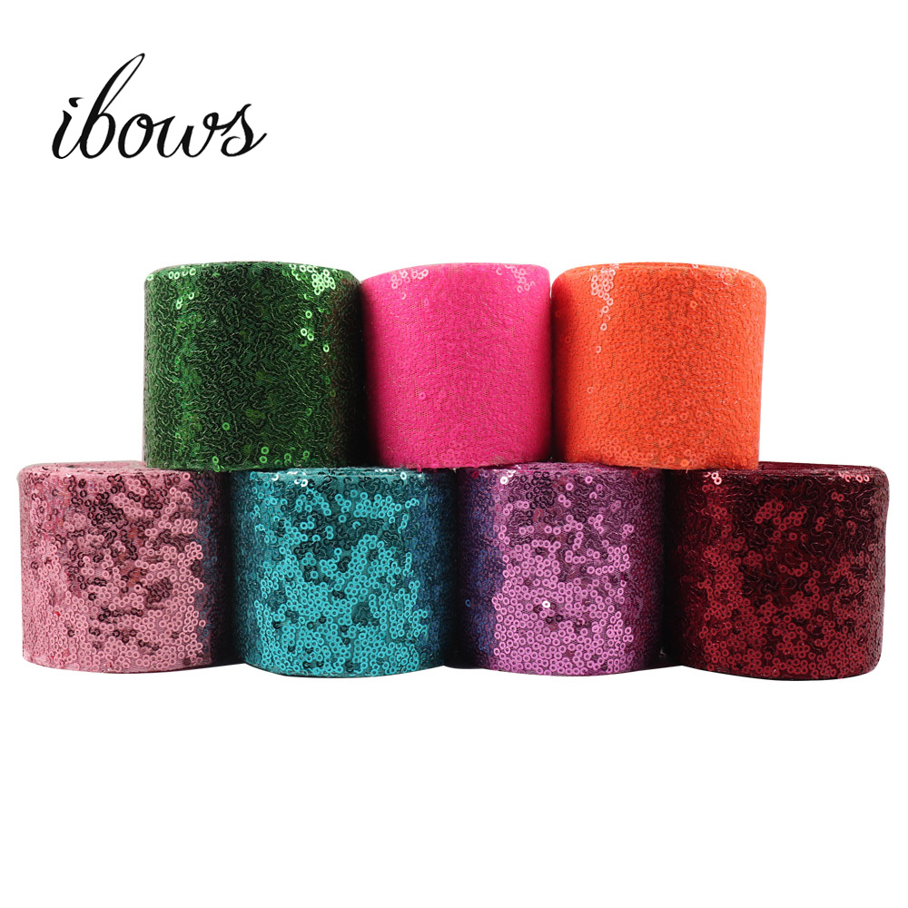 Wholesale 50Y 75mm Sequin Ribbon Solid Color Ribbon Laser Sequin For DIY Hair Bows Party Clothes Decoration Sewing Accessories-in Ribbons from Home & Garden    1