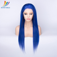 Sevengirls Pre Plucked Full Lace Human Hair Wigs Malaysian Glueless Full Lace Wigs With Baby Hair Blue Color Full Lace Wig