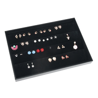 35cm 24cm Black Velvet Earrings Display Tray Jewelry Accessories Case Necklace Pendants Plate Jewelry Organizer Box