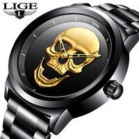 LIGE Mens Watches Top Brand Luxury Waterproof Business Quartz Watch Men Fashion Skull Full Steel Sport Watch Relogio Masculino