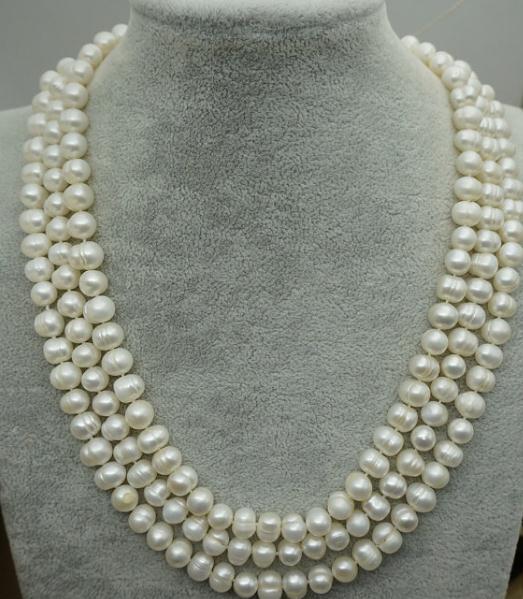 100% bijoux en perles réelles, 8-9mm 48 pouces de Long collier de perles d'eau douce blanche, fête des femmes, amour, cadeau de fête des mères