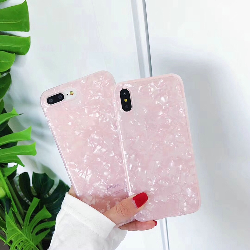 Luxury Pink Cover For iphone 8 Plus Conch Case White Black