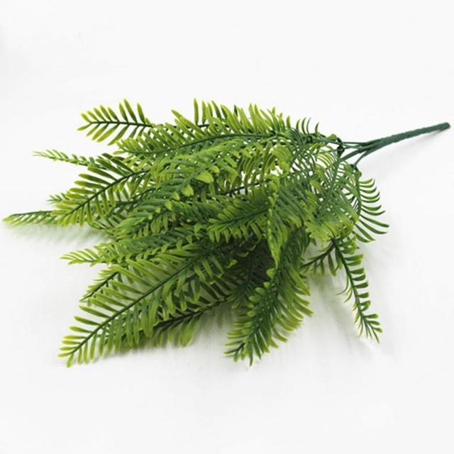1pcs 7 stems artificial fern plastic green bush wall plants cafe